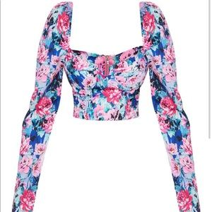 Multi 80S Floral Printed Cup Ruched Crop Top